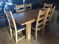 New/Cancelled order***Solid oak chunky extending table and 6 chairs