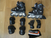 LIKE NEW INLINE SKATES SPARK TR80 alu SIZE 7 with PROTECTION GEAR SIZE M. USED A FEW TIMES ONLY