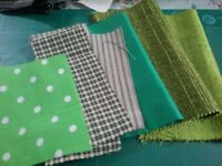 Fabric pieces green shades