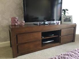 Oak tv unit with free table AS NEW