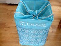 Laundry basket, storage, pop up fabric bucket used once