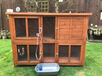 Large 2 Storey Rabbit or Guinea Pig Hutch ( can deliver) + Accessories