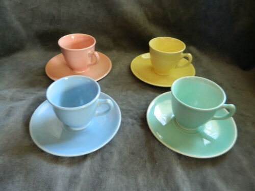 Vintage Taylor Smith & Taylor LuRay Demitasse Cup & Saucer Sets (4) - great set