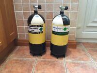 Pair of 12 litre dumpy dive cylinders