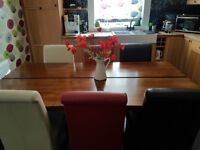 Dining table, 6 chairs, storage cabinet