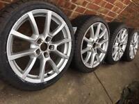 "As New Genuine Audi 18"" alloy wheels +BRAND NEW 225/40/18 winter tyres 5x112 A4 A6 VW Golf Passat"