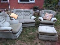 sofa with 2 armchairs leg stool pale green