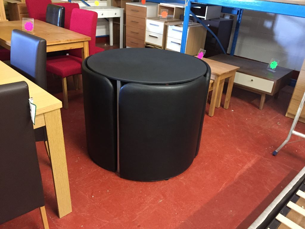 Hygena Black Space Saver Table and 4 Chairs
