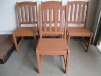 SET OF FOUR PAINTED WOODEN GARDEN CHAIRS FREE DELIVERY