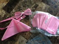 5 pink bow ties and pocket squares