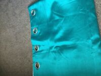 Teal faux silk curtains