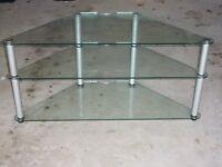 Glass/Stainless TV corner stand