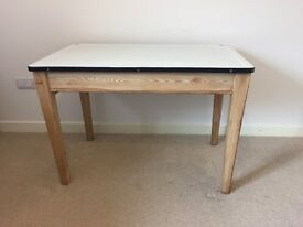 Enamel top pine table with drawer - 1950's shabby chic