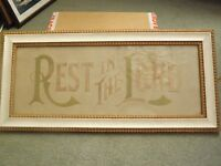 """Rest In The Lord "" religious christian framed artwork"
