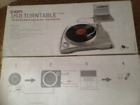 ION USB turntable. Plays and converts vinyl to MP3s