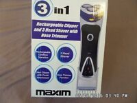Rechargeable 3 Head Shaver and Hair Clipper