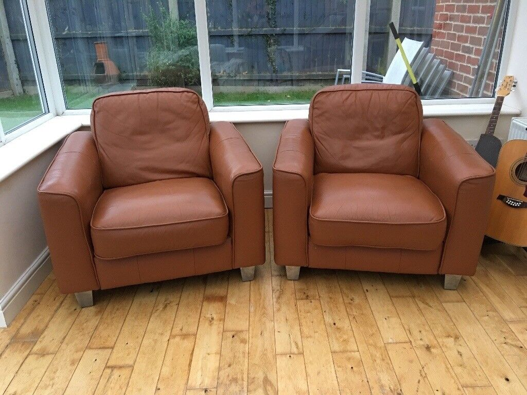 Tan leather 3 piece suite free to collect