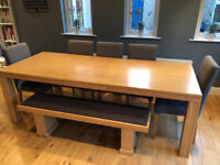 John Lewis Dinning Table Bench and 6 Chairs