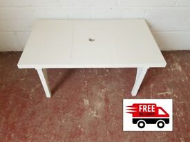White Plastic table (delivered free)
