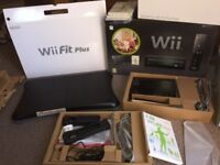 Black wii fit console, controller and balance board boxed vgc