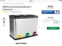 Argos 3-part silver recycling bin