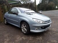 2004 PEUGEOT 206 CONVERTIBLE LOW MILEAGE MOT UNTIL FEB 2018 FULL BLACK AND RED LEATHER