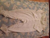 Bonpoint White Pyjamas/ Babygrow Blue Boat & Grey Seagulls. Hand-Embroidered 12m