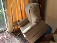 Linen coloured fabric finish electric armchair recliner