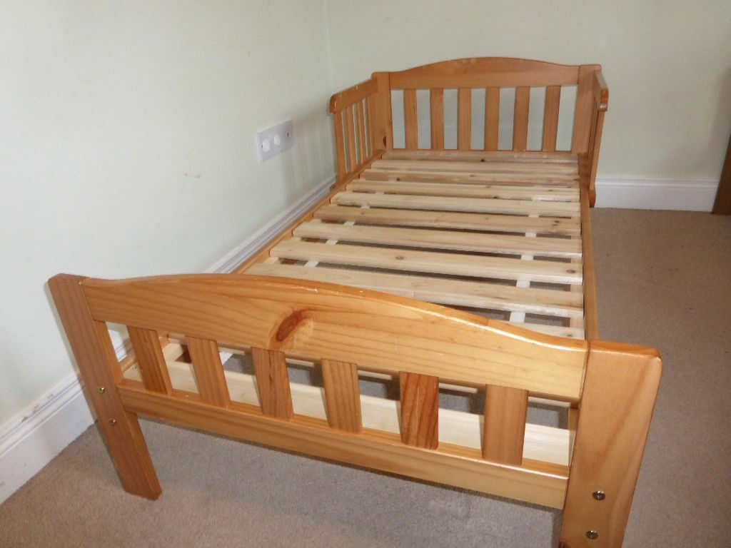 Mothercare Toddler Bed With Two Side Rails Bedguards Antique Pine