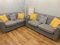 2 + 3 seater grey sofa