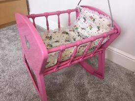 Doll's Cot / Cradle with 6 Dolls
