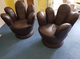 Two Leather Finger/Hand chairs - Excellent condition
