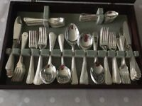 SILVER PLATED BEAD DESIGN 12 PLACE SETTING CUTLERY SET