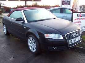 57 PLATE LATE 2007 A4 CONVERTIBLE 140 TDI FULL LEATHER NEW ALLOYS JAN 2018 MOT FINAL PRICE £3800