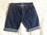 Men's Summer Denim Turn Up Shorts 32w