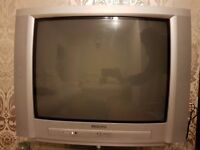Silver working TV & remote with stand