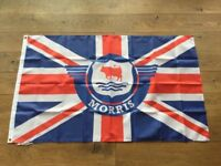 Morris minor traveller Oxford marina workshop flag banner