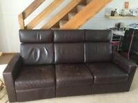 3 & 2 Seat Brown Leather Recliner Sofas