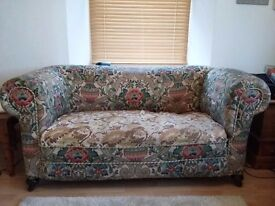 Vintage Chesterfield two seater fabric sofa. Needs Tlc