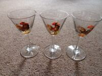 Vintage Shot Glasses /Sherry Glasses/ Small Wine Gasses with Hand-Painted Cockerel Motif