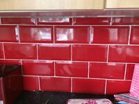 "2 boxes Red ""brick style"" kitchen tiles"