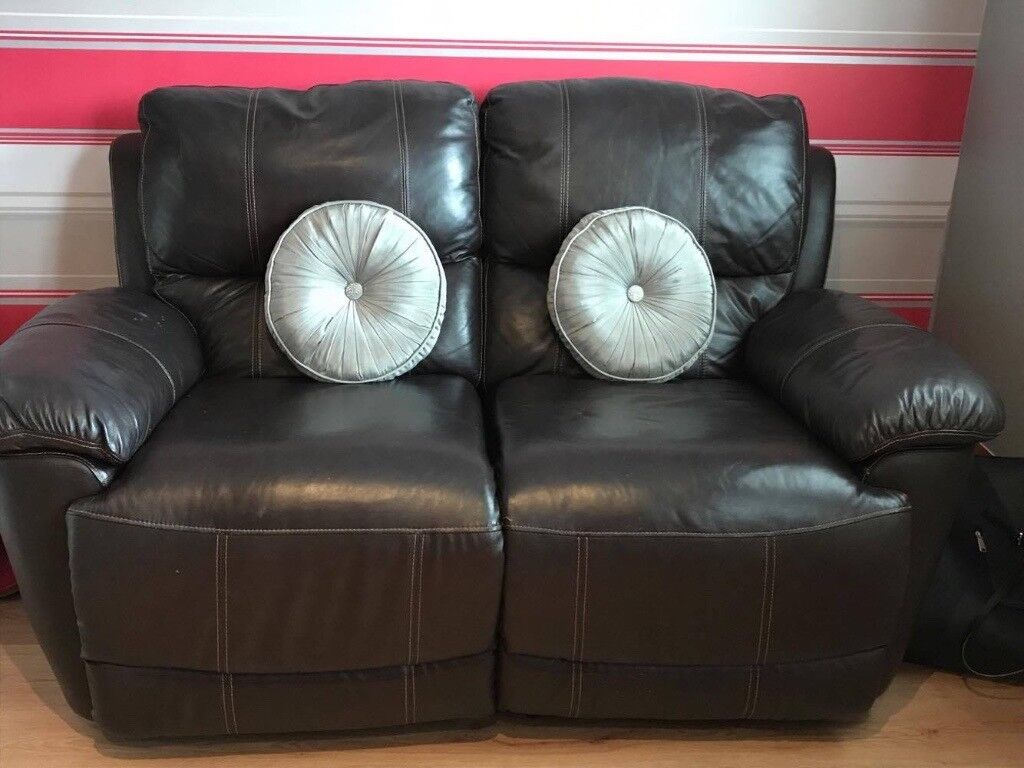 2 SEATER RECLINER SOFA BROWN LEATHER