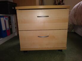 2 draw wooden bedside table.