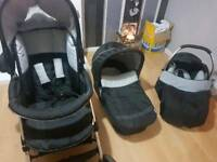 Travel system hauck Condor 3in1 travel system pram buggy car seat plus rain covers