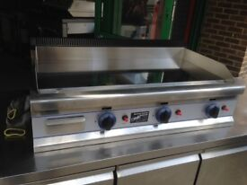 GAS CHROME FLAT GRILL CATERING COMMERCIAL KITCHEN EQUIPMENT CAFE RESTAURANT TAKE AWAY CHICKEN KEBAB