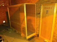 Very large long wooden shipping / storage box, ideal for paintings