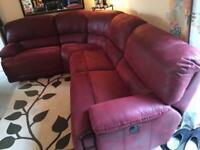 Burgundy reclining corner sofa (electric )