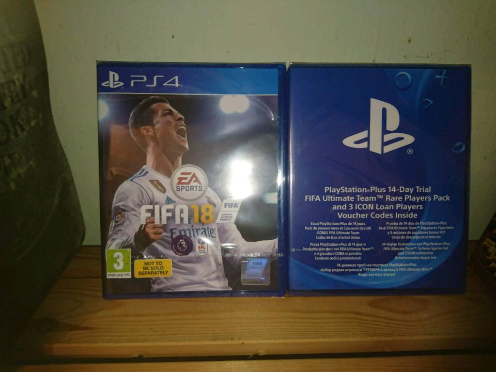 Brand new and sealed FIFA 18 for PS4 plus free 14 day FIFA ultimate trial with voucher codes