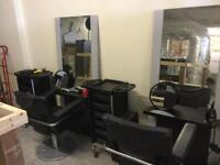 Salon set, pair of chairs mirrors and storage units also accessories