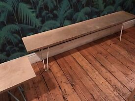 PINE BENCH WITH HAIRPIN LEGS